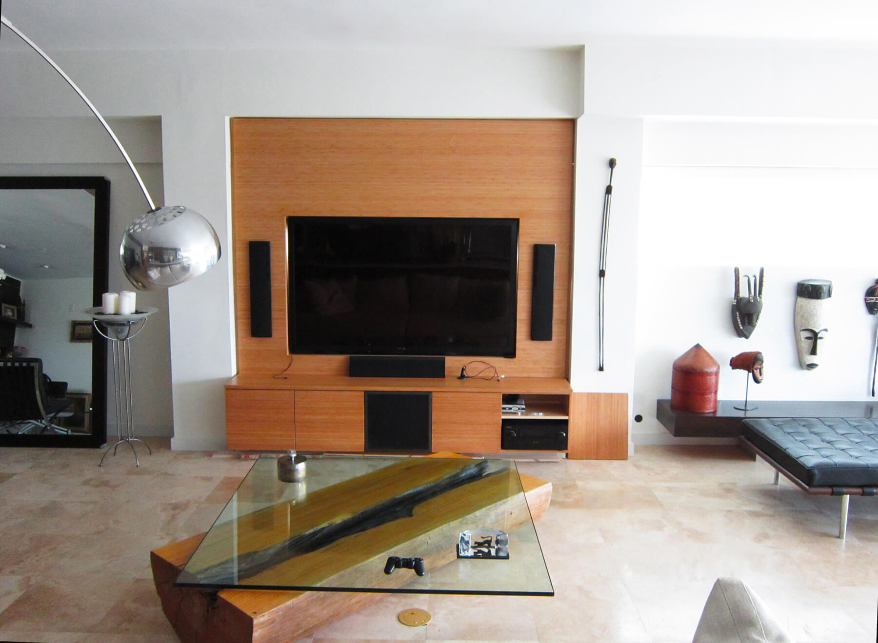 Custom Wooden Wall for TV and Entertainment System